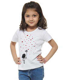 M'Andy Girl & Hearts Printed Tee - White