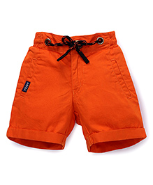 Vitamins Straight Solid Color Shorts With Drawstring - Orange