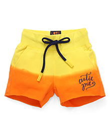 Vitamins Ombre Shaded Shorts Cutie Pie Print - Yellow Orange