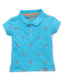 Vitamins Short Sleeves T-Shirt Crane Embroidery - Aqua Blue