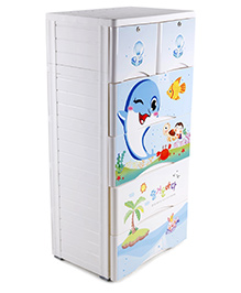 Storage Units Fish Print - White