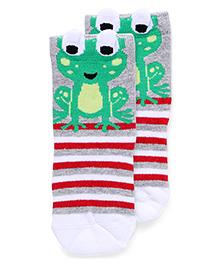 Mustang Socks Froggy Design - Grey Green White Red