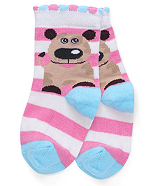 Mustang Socks Puppy Design - Pink Blue