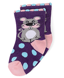 Mustang Ankle Length Socks Polka Dots and Mouse Design - Purple Pink