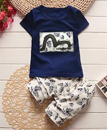 Tickles 4 U Set Of Leaf Design Tee & Shorts - Navy Blue