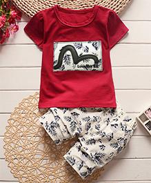 Tickles 4 U Set Of Leaf Design Tee & Shorts - Red