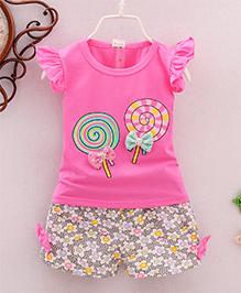 Tickles 4 U Set Of Lollipop Printed Tee With Floral Printed Shorts - Dark Pink
