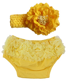 Funky Baby Bloomer Headband Set - Yellow