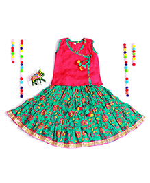 Bownbee Ghaghra Choli In Sanganeri Print - Green & Red