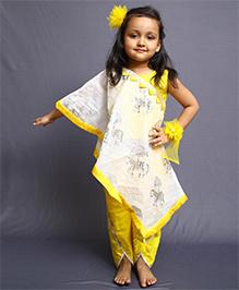 Varsha Showering Trends Horse Print Cape Top & Dhoti - Yellow & Off White