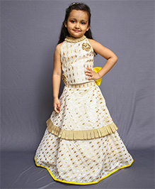 Varsha Showering Trends Double Layered Pleated Lahenga With Haltered Pleated Neck Crop Top - Yellow & Off White