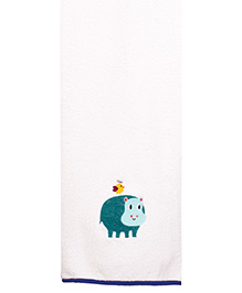 Little Bum Hippo Printed Organic Towel - Multicolor