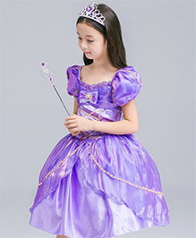 Wonderland Puff Slevees Fit & Flare Dress - Purple