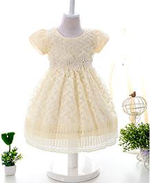 Wonderland Beaded & Laced Dress - Champagne