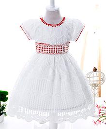 Wonderland Embroidered & Pearl Emblishment Dress - White