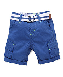 Pumpkin Patch Shorts With Belt - Blue