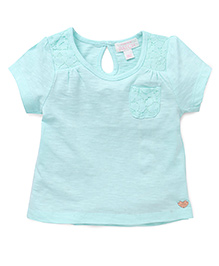 Pumpkin Patch Half Sleeves Top With Lace Pocket - Green