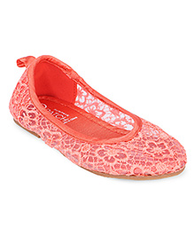 Pumpkin Patch Ballerinas With Lace Work - Coral