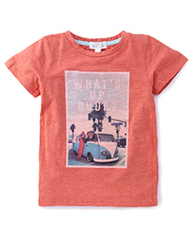 Pumpkin Patch Half Sleeves T-Shirt Van Print - Sunset Orange