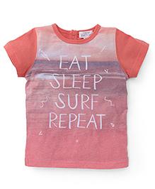 Pumpkin Patch Half Sleeves T-Shirt Eat Sleep Surf Print - Sunset Orange