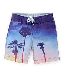 Pumpkin Patch Shorts Palm Trees Print - Blue