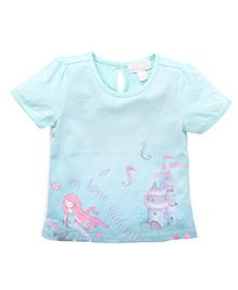 Pumpkin Patch Half Sleeves T-Shirt Mermaid & Sea Horse Print - Misty Jade