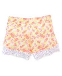 Pumpkin Patch Shorts Pineapples Print - Orange Yellow