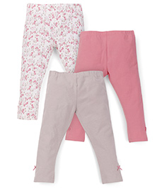 Mothercare Full Length Leggings Pack of 3 - Pink White