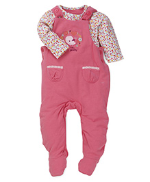 Mothercare Full Sleeves Onesie And Dungaree Style Romper Floral Print - Pink White