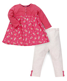 Mothercare Full Sleeves Frock And Leggings Floral Print - Pink Off White