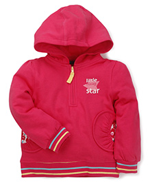 Mothercare Full Sleeves Hooded Sweatshirt Star Print - Dark Pink