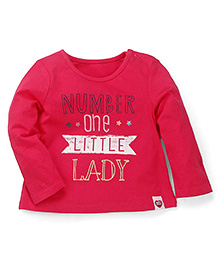 Mothercare Full Sleeves Top Text Print - Dark Pink