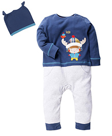 Mothercare T-Shirt Bottom And Cap Set - Blue White