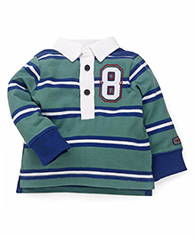 Mothercare Full Sleeves Striped Polo Neck T-Shirt - Green