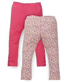 Mothercare Casual Leggings Floral Print And Solid Color Pack Of 2 - Pink