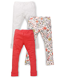 Mothercare Casual Leggings Floral Print And Solid Color Pack Of 3 - Red Off White
