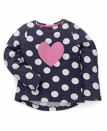 Mothercare Full Sleeves Top Polka & Heart Design - Dark Navy Blue