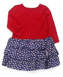 Mothercare Long Sleeves Frock Floral Print - Red Blue