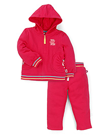 Mothercare Full Sleeves Hooded T-Shirt And Leggings Set - Pink