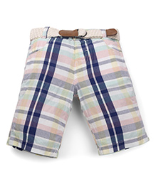 Mothercare Check Shorts With Belt - Multi Color