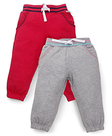 Mothercare Track Pants With Drawstring Pack Of 2 - Red And Grey