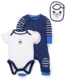 Mothercare Onesie Romper and Bib Set - Blue White
