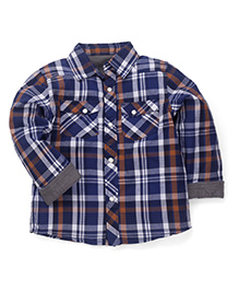 Mothercare Full Sleeves Check Shirt With Fold Up Cuffs - Dark Blue