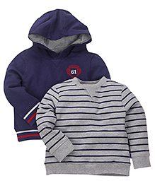 Mothercare Full Sleeves T-Shirt And Hoodie Set - Blue Grey