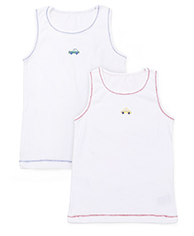 Mothercare Sleeveless Vests Printed Pack Of 2  - White