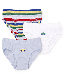Mothercare Briefs Multi Print Pack Of 3 - White Multicolor