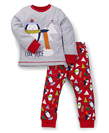 Mothercare Full Sleeves T-Shirt And Bottoms Cool Dude Print - Grey Red