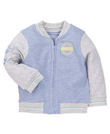 Mothercare Full Sleeves Dual Shade Sweat Jacket - Blue & Grey