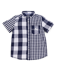 Mothercare Half Sleeves Checks Shirt - Navy White