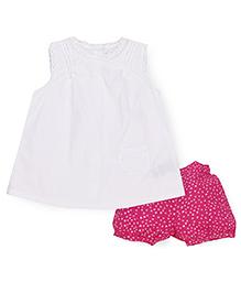 Mothercare Sleeveless Top And Shorts Set - White Dark Pink